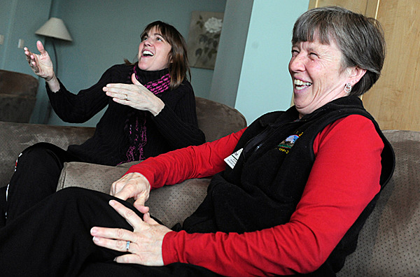 Jan Watson,R.N. left, of Surry and Deb Hubbard, right,  find laughter as good medicine as they describe their special bond during a BDN interview Monday, February 22, 2010 at Maine Coast Memorial Hospital in Ellsworth where they work. Hubbard hopes to donate part of her liver to replace Watson's ailing liver and they will travel  to New , Haven, CT in mid-March for a tentative procedure at Yale Medical Center. BANGOR DAILY NEWS PHOTO BY JOHN CLARKE RUSS