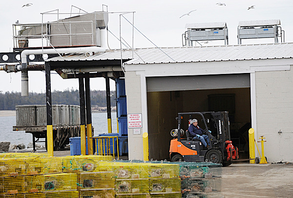 A worker operates a forklift at the former Stinson cannery Tuesday afternoon, Febraury 23, 2010. Gov. John  Baldacci met with employees and local officials to discuss the announced closure of the Stinson Seafood sardine cannery in the village of Prospect Harbor. About 130 employees are expected to lose their jobs when the facility closes for good on April 18. BANGOR DAILY NEWS PHOTO BY JOHN CLARKE RUSS