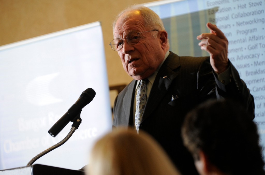 Noted attorney F. Lee Bailey was the featured speaker at the  Bangor Region Chamber of Commerce Early Bird Breakfast Wednesday, February 24, 2010. He discussed his experiences with inmates and methods to lower recidivism rates.  (Bangor Daily News/John Clarke Russ)