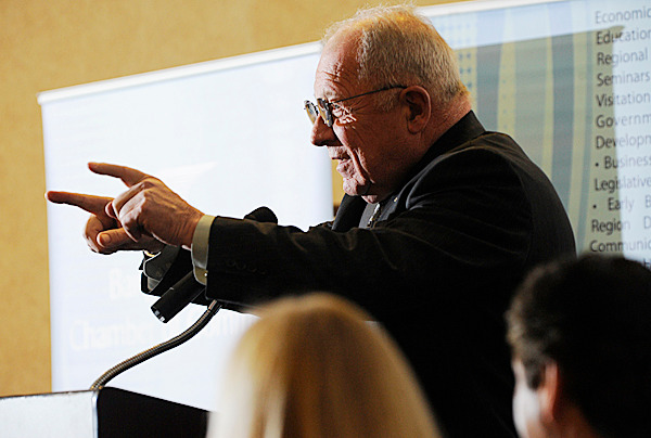 Noted attorney F. Lee Bailey was the featured speaker at the  Bangor Region Chamber of Commerce Early Bird Breakfast Wednesday, February 24, 2010. He discussed his experiences with inmates and methods to lower recidivism rates.  BANGOR DAILY NEWS PHOTO BY JOHN CLARKE RUSS