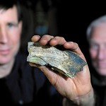 Lin White, owner of Park's Hardware in Orono, holds up a walrus tusk fragment he found in 2008 while working near the Stillwater River with the Orono Land Trust.  White recently enlisted the help of U Maine Professor Emeritus Professor George Jacobson (right) and some of his academic colleagues in the field to determine the that this tooth fragment belonged to a walrus that probably lived about 13,000 years ago. Photographed February 24, 2010 at Park's Hardware. BANGOR DAILY NEWS PHOTO BY JOHN CLARKE RUSS