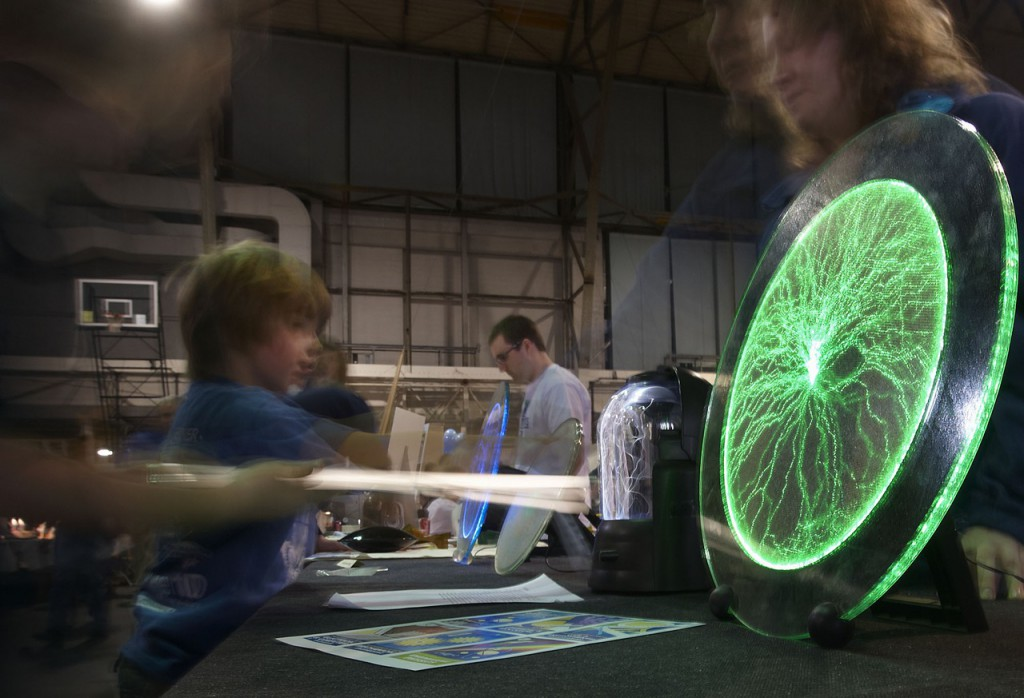 Always a favorite are the patterns generated by static electricity as this time-exposure shows at the Engineering Fair held at the UMO Fieldhouse , Saturday, Feb. 27, 2010.Bangor Daily News/Michael C. York