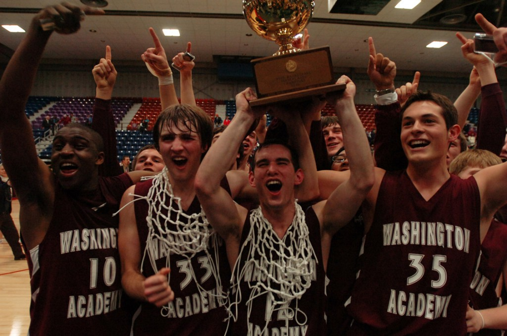 Members of the Washington Academy boys basketball team celebrate with the class C state championship gold ball on Saturday, Feb. 27, 2010  at the Augusta Civic Center. WA Defeated Dirigo 58-70.