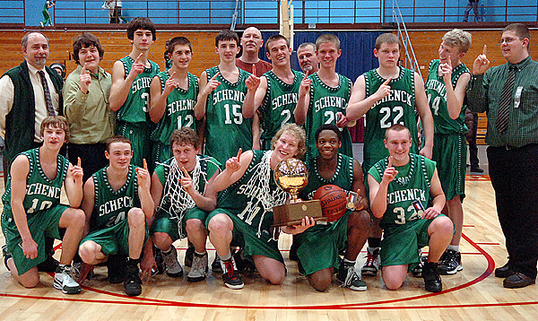 The Schenck team poses for a team photo after winning the boys Class D championship against Richmond at the Augusta Civic Center on Saturday, Feb. 27, 2010. Schenck won 65-43. BANGOR DAILY NEWS PHOTO BY BRIDGET BROWN