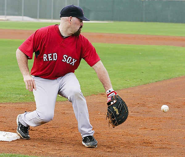 Boston Red Sox first baseman Kevin Youkilis fields a ball during baseball spring training in Fort Myers, Fla., Wednesday, Feb. 24, 2010.(AP Photo/Nati Harnik)20