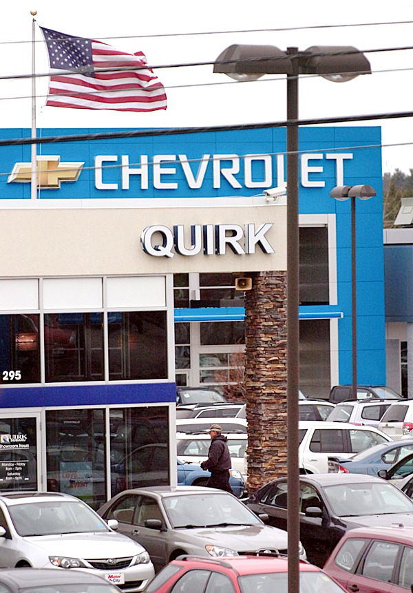Quirk's Chevrolet auto dealer is seen in Bangor on Wednesday, March 3, 2010. General Motors plans to recall 1.3 million Chevrolet and Pontiac vehicles in North America due to complaints about power-steering systems. BANGOR DAILY NEWS PHOTO BY BRIDGET BROWN