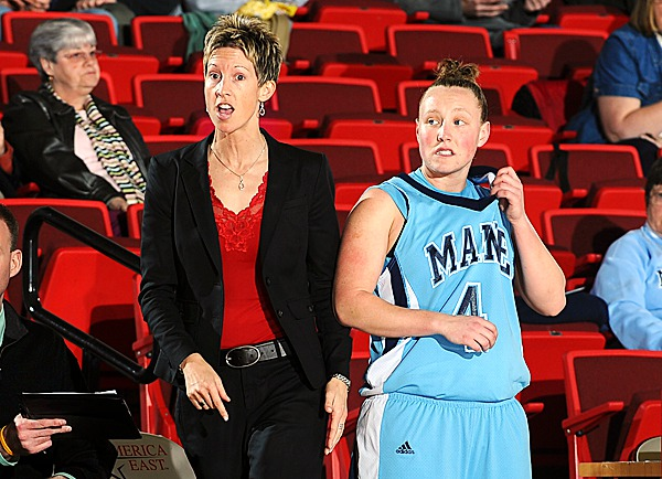 Maine Coach Cindy Blodgett and starting guard Kristin Baker.  PHOTO BY STEVE MCLAUGHLIN