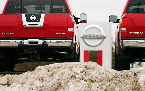 Nissan Titan trucks are seen at the Quirk Nissan auto dealer in Bangor on Wednesday, March 3, 2010. The model is among those being recalled by Nissan Motor Co. to fix problems with brake pedals and fuel gauges. BANGOR DAILY NEWS PHOTO BY BRIDGET BROWN