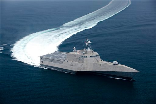 FILE - This July 12, 2009 file image provided by the US Navy shows the littoral combat ship Independence (LCS 2), produced by General Dynamics, underway during builder's trials. General Dynamics Corp. Maine's Bath Iron Works and Alabama's Austal USA are ending their partnership, allowing Austal to compete on its own for the next contract to build the fast and agile warships for the Navy.(AP Photo/Dennis Griggs - US Navy, File)