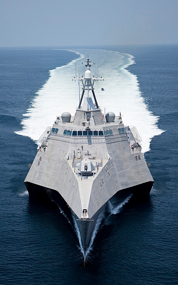 FILE - This July 12, 2009 file image provided by the US Navy shows the littoral combat ship Independence (LCS 2), produced by General Dynamics, underway during builder's trials. General Dynamics Corp. Maine's Bath Iron Works and Alabama's Austal USA are ending their partnership, allowing Austal to compete on its own for the next contract to build the fast and agile warships for the Navy.