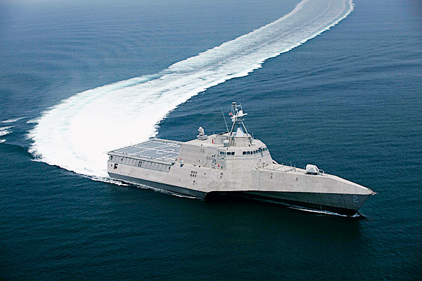 FILE - This July 12, 2009 file image provided by the US Navy shows the littoral combat ship Independence (LCS 2), produced by General Dynamics, underway during builder's trials. General Dynamics Corp. Maine's Bath Iron Works and Alabama's Austal USA are ending their partnership, allowing Austal to compete on its own for the next contract to build the fast and agile warships for the Navy. AP FILE PHOTO