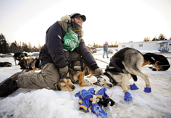 Matt Carstens of Whitefield, New Hampshire rubs down his huskies as he answers questions from veterinarians after being the first musher to arrive at the Maibec Camp checkpoint of the Can-Am Crown 250 around 6 a.m. Sunday, March 7, 2010. He and his dog team arrived at the camp more than 10 minutes ahead ot their E.T.A. Carstens won the Can-Am Crown 250 in 2009 and 2006 . (Bangor Daily News/John Clarke Russ)