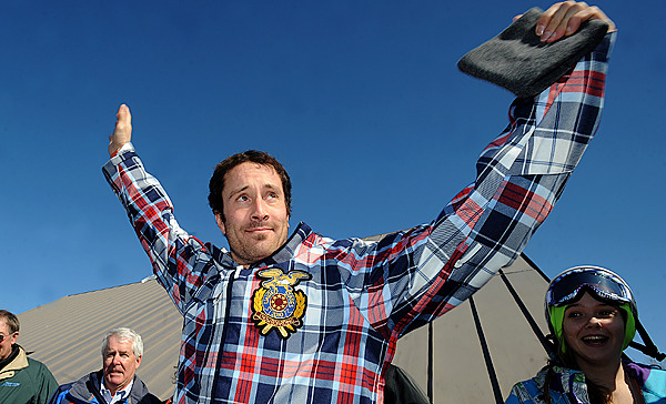 Two time Olympic gold medalist Seth Wescott was awaited by a crowd of people gathered to see him ats homecoming celebration. Wescott's won the gold medal in snowboard cross at the 2010 Vancouver Winter Olympic Games. The event was held at the Sugarloaf ski resort Saturday.