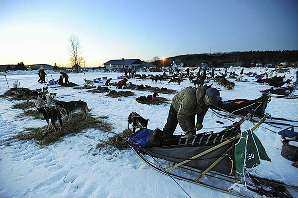 Ryan Anderson (foreground) of Ray, MN  and other mushers settle down with their dogs for a mandatory layover shortly after sundown Saturday at the Portage Lake checkpoint in Portage Lake.  (Bangor Daily News/John Clarke Russ)