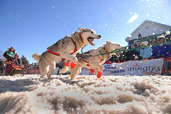 Rhonda O'Hearn of Sandown, New Hampshire is pulled by her over-eager huskies at start the Can-Am Crown 250 in downtown Fort Kent, Maine Saturday, March 6, 2010. (Bangor Daily News/John Clarke Russ)
