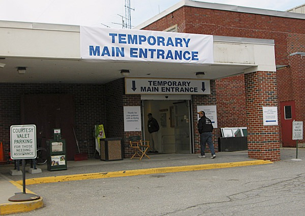 A sign at Maine Coast Memorial Hospital in Ellsworth directs patients to a temporary entrance at the former emergency department. The main hospital entrance will be closed while the lobby and registration areas are remodeled. Photo courtesy of Maine Coast Memorial Hospital. w/HEWITT STORY