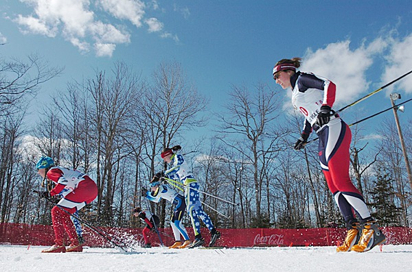 Skiiers including Tristin Lowe (right) of Team Soldier Hollo start a semi-final junior 2 sprint race at the 2010 XC Junior Olympics at the Nordic Heritage Center in Presque Isle on Monday, March 8, 2010. Junior Olympic races continue through Saturday. BANGOR DAILY NEWS PHOTO BY BRIDGET BROWN