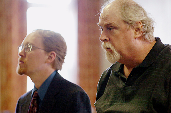 Michael Toby (right) and his defense attorney Chris Smith stand before Justice William Anderson at Piscataquis County Superior Court in Dover-Foxcroft on Wednesday, March 10, 2010 at the start of Toby's trial for the murder of his older sister, Rosalie Shedd, in October 2008. BANGOR DAILY NEWS PHOTO BY BRIDGET BROWN