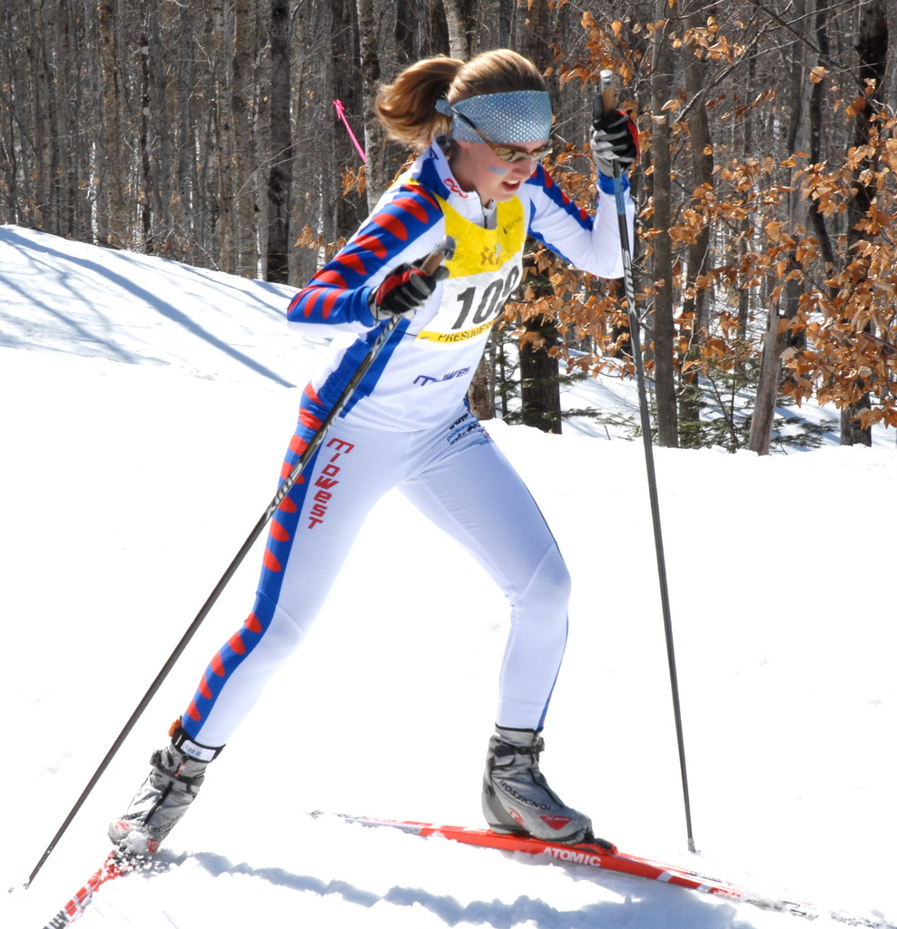 Eleanor Magnuson of Midwest Team Go Training skis her leg of the freestyle relay during competition Saturday at the USSA Junior Olympics in Presque Isle. Her team went on to capture the gold for the event. Buy Photo