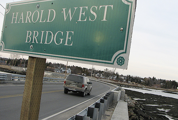 A sport-utility vehicle heads east Saturday on Route 1 across the Harold West Bridge in Milbridge. West, a veteran and former Milbridge selectman who was active in many local and regional projects, died Friday at the age of 85. BANGOR DAILY NEWS PHOTO BY BILL TROTTER