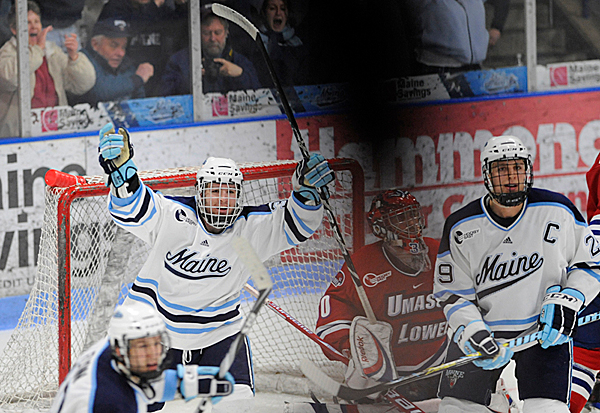 U Maine's Joey Diamond (left) and Tanner House (right) react after teammate Will O'Neill sores the team's first goal during the second period of U Maine's third Hockey East quarterfinal series game with U Mass-Lowell at Alfond Arena Sunday night, March 14, 2010. The shadow in the foreground is a arm going up in the stands. (Bangor Daily News/John Clarke Russ)