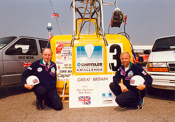 Balloonist Rob Bayly(right) and Don Cameron (left). Publicity shot for Chrysler Transatlantic balloon race.  Photograph taken in August 1992.