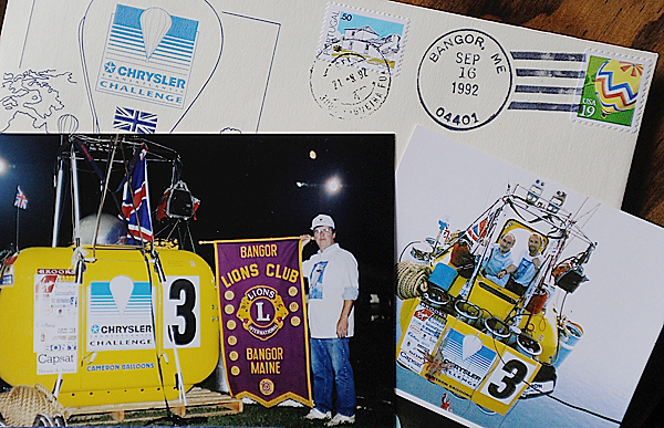 Memorabilia of Dr. Daniel Brooks of Hampden (Dr. Brooks is seen in lower left snapshot) and balloonist Robert Bayly (cq) of Bristol, England (seen on right in balloon capsule with with co-pilot Don Cameron in lower right snapshot) from the 1992 transatlantic balloon race which embarked from Bangor, Maine. The envelope shown on top was among the &quotballoon mail&quot that was brought on their flight. Bayly visited with Dr. Brooks and his family over this past weekend as they have remained good friends over the years. Dr. Brooks was president of the Bangor Lions Club which helped sponsor the U.K. balloon team. BANGOR DAILY NEWS PHOTO BY JOHN CLARKE RUSS