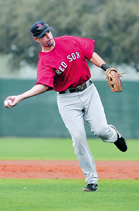 Boston Red Sox third baseman Mike Lowell throws during baseball spring training in Fort Myers, Fla., Wednesday, Feb. 24, 2010.(AP Photo/Nati Harnik)