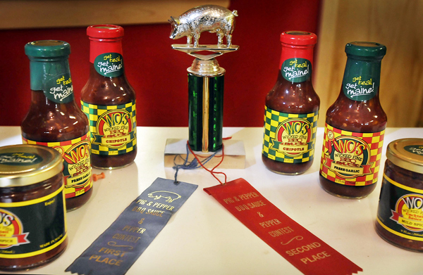 Wo's sauces have won awards in blind taste tests in New England competitions. Bangor Daily News/Michael C. York