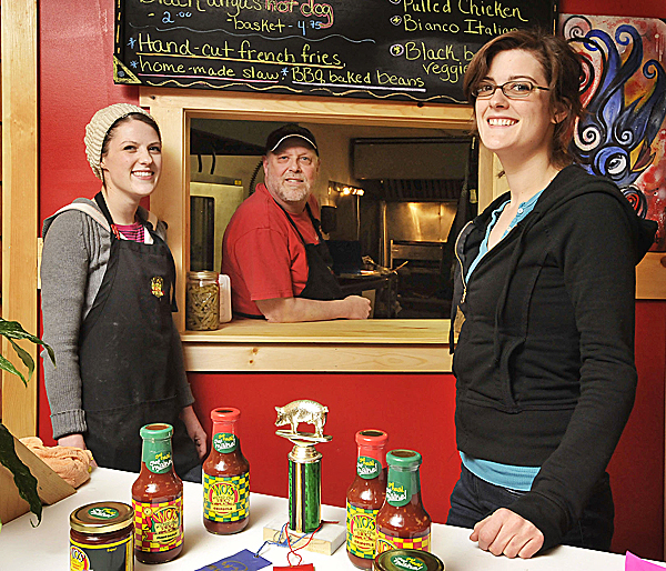 The Wo's crew, left to right, daughter Maggie, Charley ('Wo'), and daughter CeCe Wentworth at the eatery on Center Street in Bangor. (Bangor Daily News/Michael C. York)
