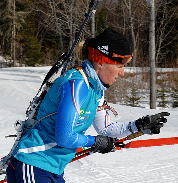 Former 2006 U.S. Winter Olympian Tracy Barnes-Colliander gets in a training run at the 10th Mountain Lodge this week in preparation for the U.S. and North American Biathlon Championships starting today. PHOTO BY JULIA BAYLY