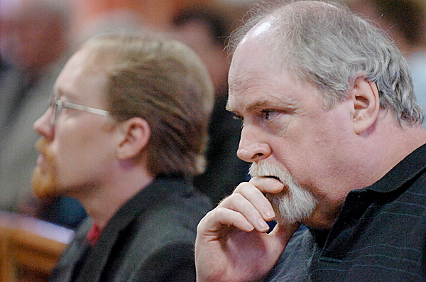 Michael Toby, 54, (right) of Dover-Foxcroft listens alongside his defense attorney Chris Smith as he is found guilty of knowingly and intentionally killing his sister, Rosalie Shedd, 70, by Justice William Anderson on Thursday, March 18, 2010 at Piscataquis County Superior Court in Dover-Foxcroft. Toby had pleaded not guilty by reason of insanity to an indictment of murder in connection with the death of Shedd at her Aaron Drive apartment in Dover-Foxcroft on Oct. 23, 2008. (Bangor Daily News/Bridget Brown)