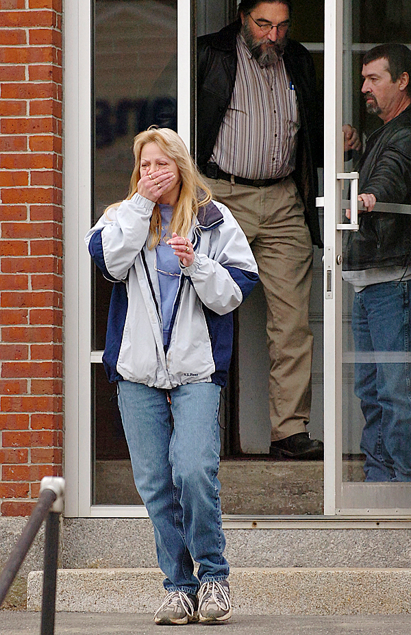 Melanie Eastman of Atkinson reacts as she exits the Piscataquis County Superior Court on Thursday, March 18, 2010 in Dover-Foxcroft, after her uncle Michael Toby was found guilty of knowingly and intentionally killing Eastman's mother, Rosalie Shedd, 70, by Justice William Anderson. Toby had pleaded not guilty by reason of insanity to an indictment of murder in connection with the death of Shedd at her Aaron Drive apartment in Dover-Foxcroft on Oct. 23, 2008. (Bangor Daily News/Bridget Brown)