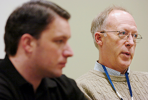 &quotThe person who has been unfortunate enough to have one of these diseases has already received a life sentence before it gets to court,&quot said Robert &quotJoe&quot Bruce (right) referring to his son William Bruce (left), a paranoid schizophrenic, during an interview Thursday, March 4, 2010 at the Riverview Psychiatric Center in Augusta where Bruce has been a patient since being found incompetent to stand trial for the death of his mother in 2006.  BANGOR DAILY NEWS PHOTO BY BRIDGET BROWN