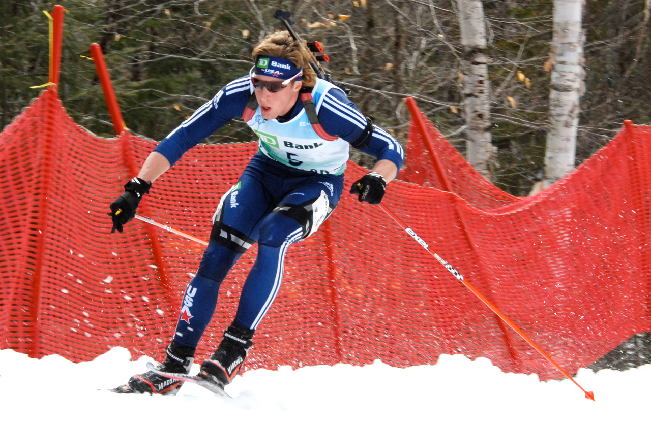 Wynn Roberts used fast skiing and solid shooting to move into first place at the U.S./North American Biathlon Championship pursuit race on Saturday, March 20. PHOTO SPECIAL TO THE NEWS BY JULIA BAYLY