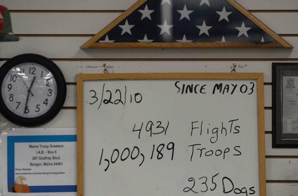 The Maine Troop Greeters posted their tally on their dry erase board at BIA   shortly before 1 a.m. Monday, March 22, 2010. The morning flight from Fort Carson, Colo.  carrying 279 troops included the 1 millionth soldier to come through Bangor since May 2003. (Bangor Daily News/John Clarke Russ)