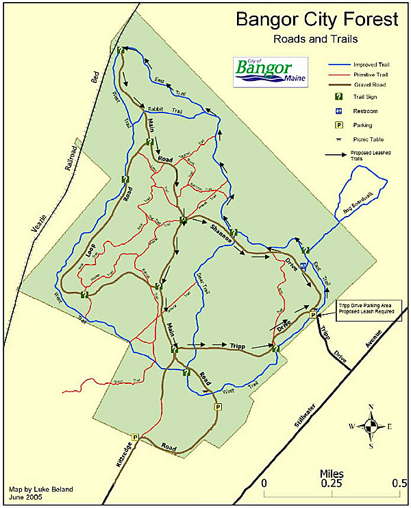 Map with Eric Russell's dog trails story on new leash law in Bangor's Rolland F. Perry City Forest. (Map courtesy of City of Bangor)