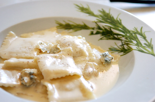 Abby Freethy's ravioli with a garlic cream sauce topped with gorgonzola cheese is seen at her Greenville kitchen Wednesday, March 10, 2010. (Bangor Daily News/Bridget Brown)