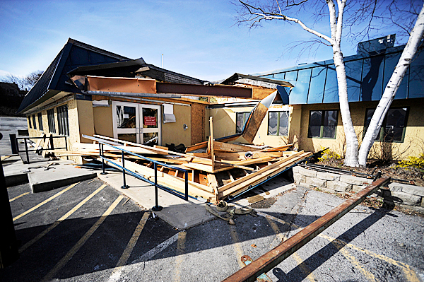 A part of the former Hollywood Slots gaming facility, which was once Miller's Restaurant, is being demolished at the end of this week to make way for a new McDonald's on Main Street in Bangor. Photographed Thursday afternoon, March 25, 2010. BANGOR DAILY NEWS PHOTO BY JOHN CLARKE RUSS
