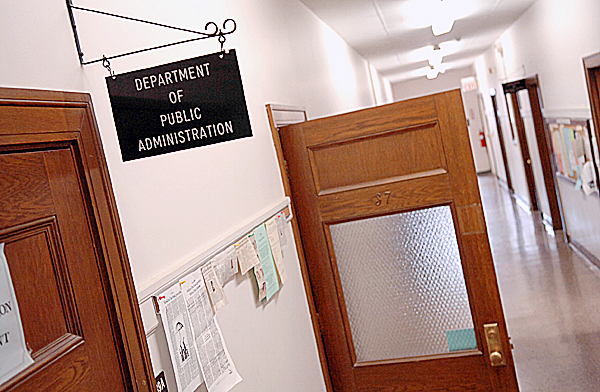 The hallway of North Stevens Hall which houses the University of Maine's Department of Public Administration is seen Wednesday afternoon, March 24, 2010 on campus. The school's Academic Program Prioritization Working Group released a report Wednesday outlining potential changes in order to reduce the academic program budget by more than $12 million which would call for the elimination of the Department of Public Administration and its undergraduate and graduate degree programs.  BANGOR DAILY NEWS PHOTO BY BRIDGET BROWN