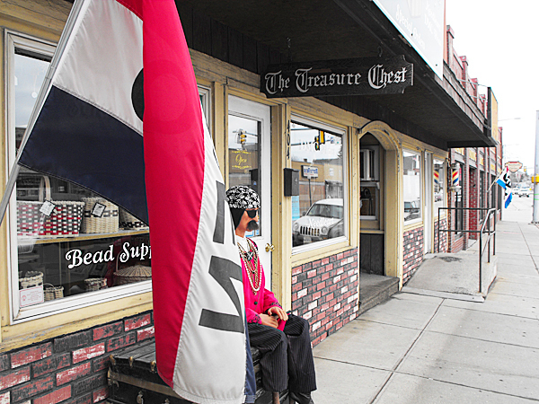 A pirate mannequin sits outside Treasure Chest Crafts in downtown Presque Isle, one of several stores in the downtown area. Shopkeepers, including Lisa Cray, the owner of Treasure Chest Crafts, said recently that business has picked up in the area after numerous efforts on behalf of the city's Downtown Revitalization Committee to bring more business to that section of Main Street. Cray said that she decided to relocate her business to the downtown because she liked the