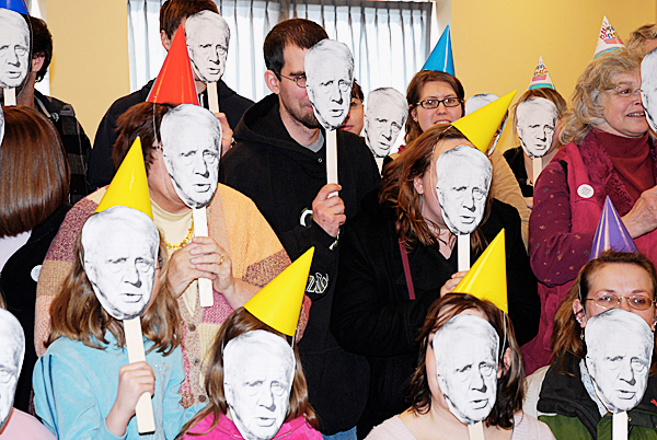 It was Robert Frost all around as Northern Maine Community College faculty, staff and students posed for a group photo during Frost Fest, an event celebrating the poet's 136th birthday on Friday.  PHOTO BY JULIA BAYLY