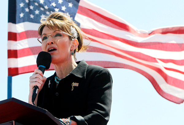 Sarah Palin speaks at the &quotShowdown in Searchlight&quot tea party rally in Searchlight, Nev., Saturday, March 27, 2010. (AP Photo/Jae C. Hong)