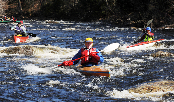 Competitors negotiate the rapids during the 31st annual St.George River Canoe Race near the Ghent Road in Searmont Saturday.  In spite of the morning cold over 110 boats registered for the first race of the season.  The water level was good for the race due to recent rain.  BANGOR DAILY NEWS PHOTO BY GABOR DEGRE