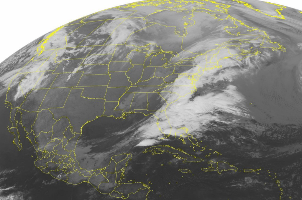 This NOAA satellite image taken Monday, March 29, 2010 at 4:15 a.m. EDT shows widespread cloud coverage over the Eastern Seaboard as a storm system produces areas of snow, rain, and thunderstorms from the top of Maine to the tip Florida. High pressure builds behind the storm, producing tranquil weather activity in the Plains. (AP PHOTO/WEATHER UNDERGROUND)