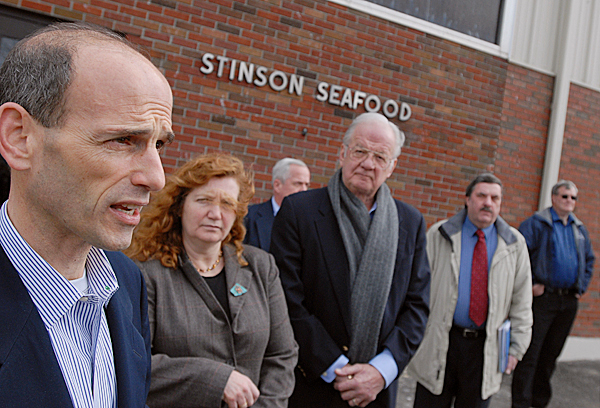 Gov. John Baldacci, far left,  talks with the media during his visit to the former Stinson Cannery Tuesday, February 23, 2010. Among the group were Maine Labor Commissioner Laura Fortman (second from left) and Thaxter Trafton, state Commisioner of Economic and Community Development.  Gov. Baldacci met with employees and local officials to discuss the announced closure of the Stinson Seafood sardine cannery in the village of Prospect Harbor. About 130 employees are expected to lose their jobs when the facility closes for good on April 18. BANGOR DAILY NEWS FILE PHOTO BY JOHN CLARKE RUSS