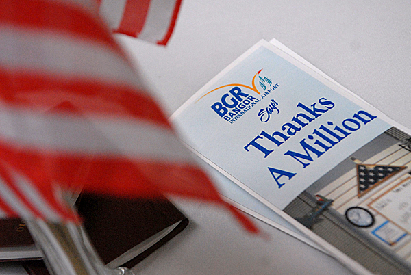 A leaflet that was handed out  during Bangor International Airport's &quotThanks A Million&quot Appreciation event. The veent  recognizied their recent milestone of having greeted over one million troops. BANGOR DAILY NEWS PHOTO BY JOHN CLARKE RUSS