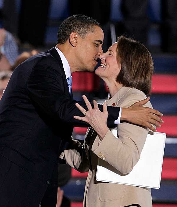 President Barack Obama embraces Karen Mills, head of the Small Business Administration, after she introduced him before he spoke about health care reform during an event at the Portland Expo Center in Portland, Maine, last year.