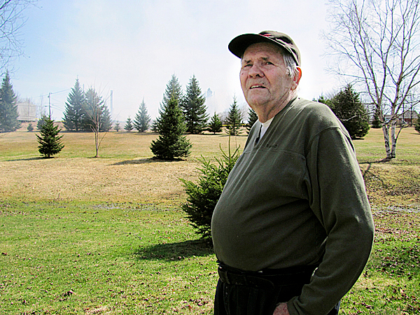 James Ready of Newport said a structure fire on the back border of his property Thursday night probably would have spread across the field in the background if there had been any wind. Luckily, he said. there wasn't.  BANGOR DAILY NEWS PHOTO BY CHRISTOPHER COUSINS