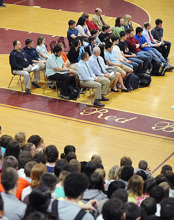 Bangor High School held a school-wide assembly to honor all the students who have recently won academic state championships and other awards.  Twenty two students were recognized for their achievements in six fields. BANGOR DAILY NEWS PHOTO BY GABOR DEGRE